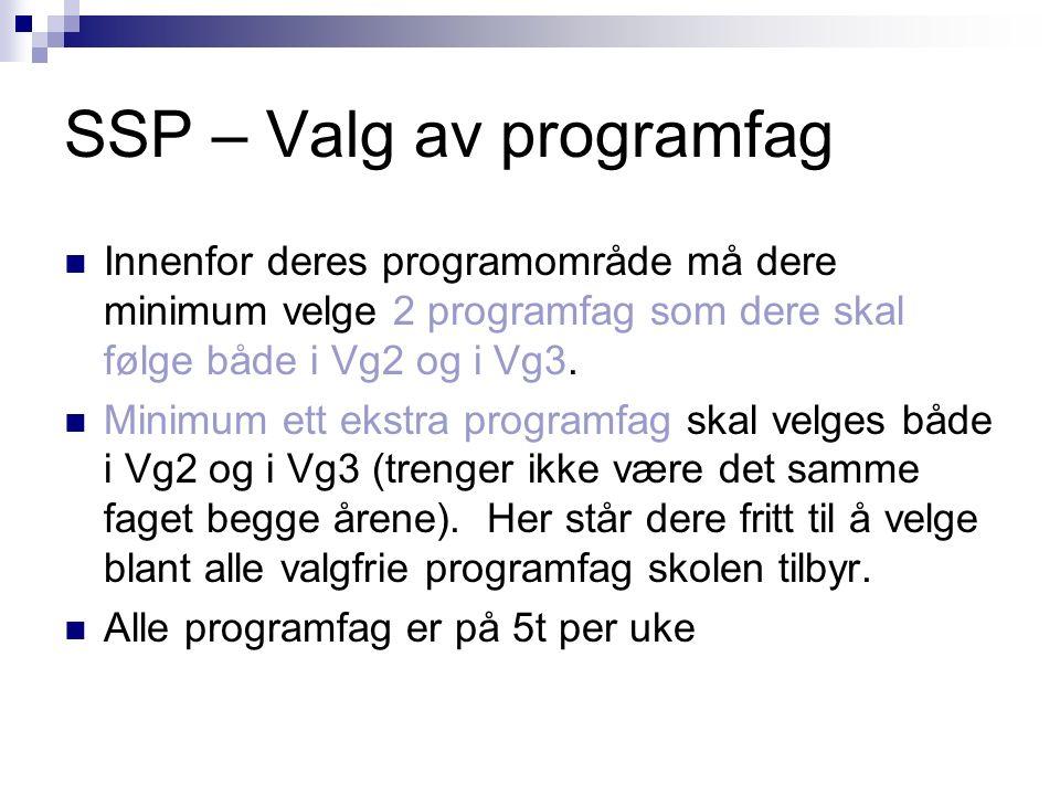 SSP – Valg av programfag Innenfor deres programområde må dere minimum velge 2 programfag som dere skal følge både i Vg2 og i Vg3. Minimum ett ekstra p