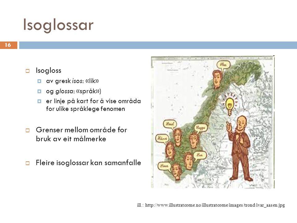 Isoglossar  Isogloss  av gresk isos: «lik»  og glossa: «språk»)  er linje på kart for å vise områda for ulike språklege fenomen  Grenser mellom område for bruk av eit målmerke  Fleire isoglossar kan samanfalle ill.: http://www.illustratorene.no/illustratorene/images/trond/ivar_aasen.jpg 16