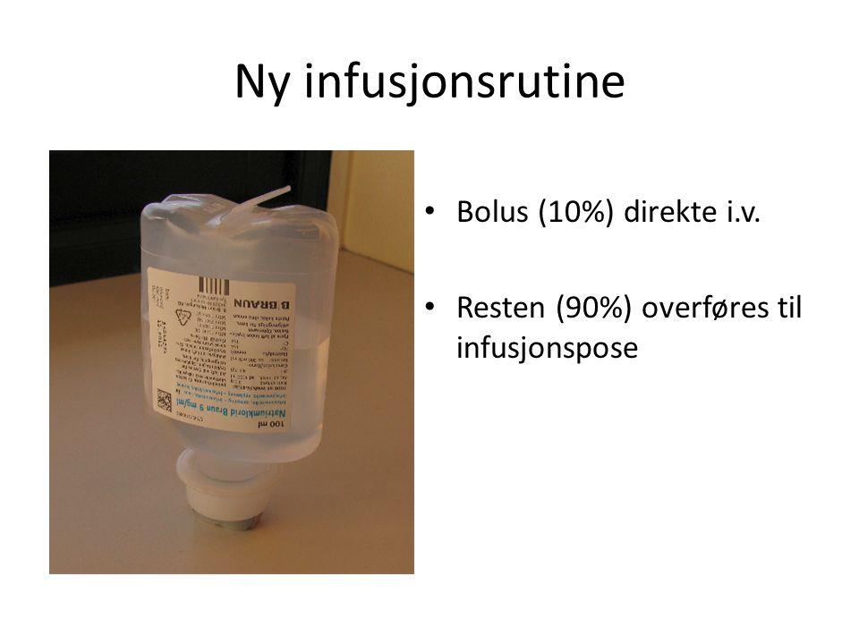 Ny infusjonsrutine Bolus (10%) direkte i.v. Resten (90%) overføres til infusjonspose