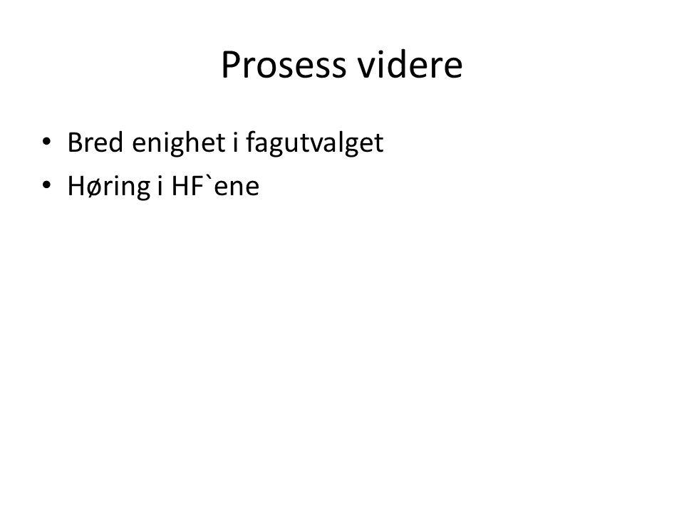 Prosess videre Bred enighet i fagutvalget Høring i HF`ene