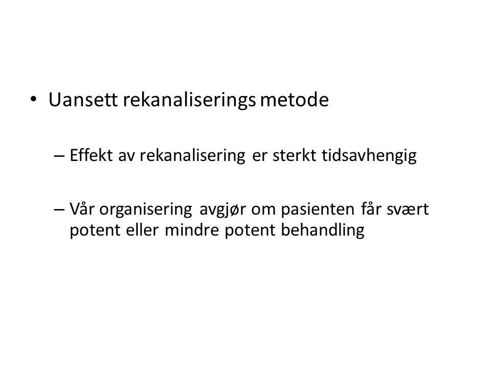 Uansett rekanaliserings metode – Effekt av rekanalisering er sterkt tidsavhengig – Vår organisering avgjør om pasienten får svært potent eller mindre potent behandling