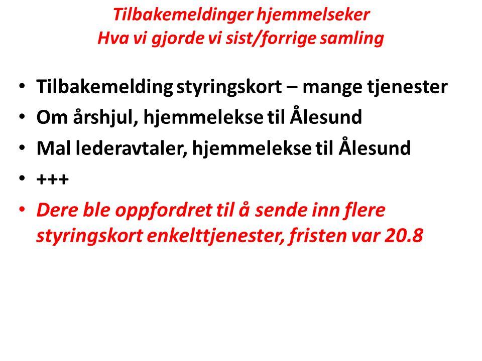 Tilbakemeldinger hjemmelseker Hva vi gjorde vi sist/forrige samling Tilbakemelding styringskort – mange tjenester Om årshjul, hjemmelekse til Ålesund Mal lederavtaler, hjemmelekse til Ålesund +++ Dere ble oppfordret til å sende inn flere styringskort enkelttjenester, fristen var 20.8