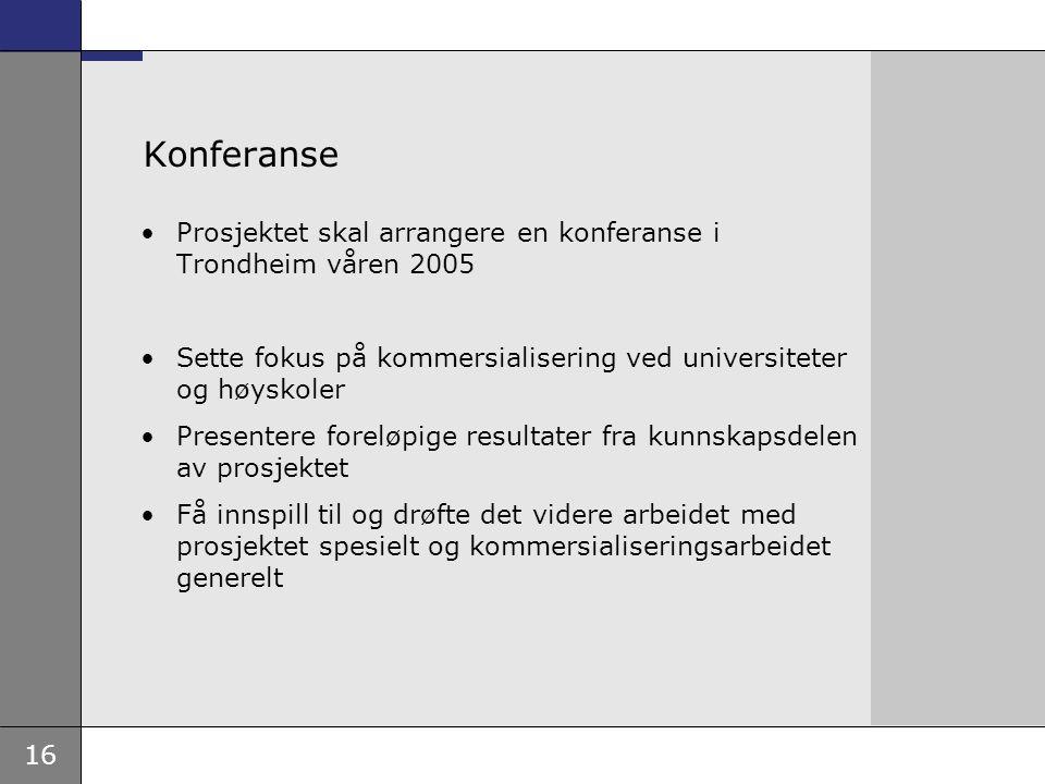16 Konferanse Prosjektet skal arrangere en konferanse i Trondheim våren 2005 Sette fokus på kommersialisering ved universiteter og høyskoler Presentere foreløpige resultater fra kunnskapsdelen av prosjektet Få innspill til og drøfte det videre arbeidet med prosjektet spesielt og kommersialiseringsarbeidet generelt