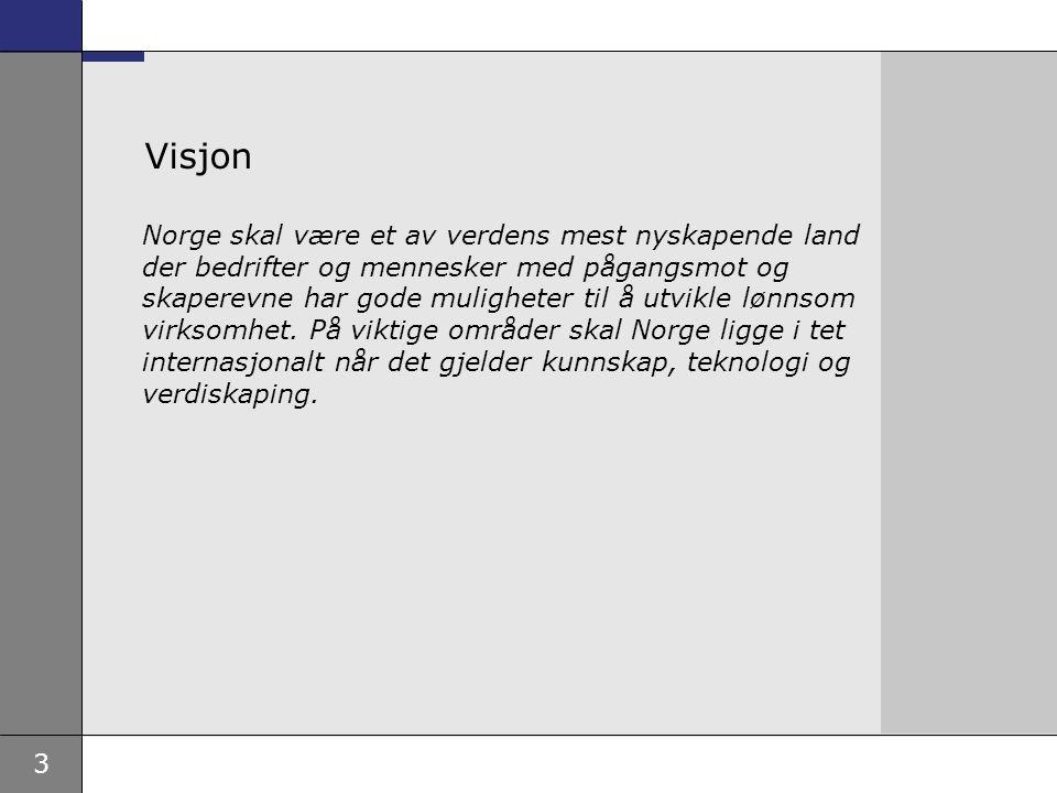 3 Visjon Norge skal være et av verdens mest nyskapende land der bedrifter og mennesker med pågangsmot og skaperevne har gode muligheter til å utvikle lønnsom virksomhet.