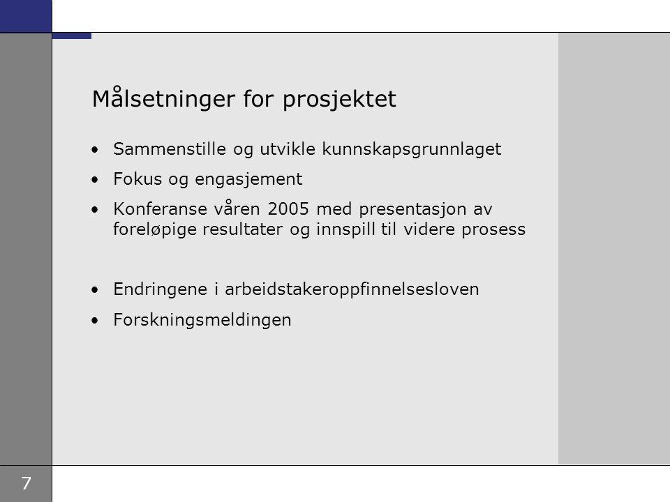 7 Målsetninger for prosjektet Sammenstille og utvikle kunnskapsgrunnlaget Fokus og engasjement Konferanse våren 2005 med presentasjon av foreløpige re