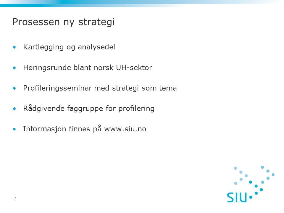 7 Kartlegging og analysedel Høringsrunde blant norsk UH-sektor Profileringsseminar med strategi som tema Rådgivende faggruppe for profilering Informas
