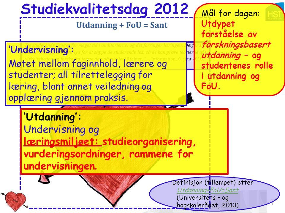 Studiekvalitetsdag 180912_aomdal 1 Studiekvalitetsdag 2012 Mål for dagen: Utdypet forståelse av forskningsbasert utdanning – og studentenes rolle i utdanning og FoU.