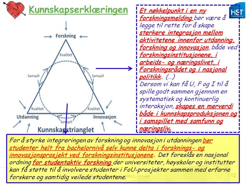 Studiekvalitetsdag 180912_aomdal 12 Kunnskapserklæringen For å styrke integreringen av forskning og innovasjon i utdanningen bør studenter helt fra ba