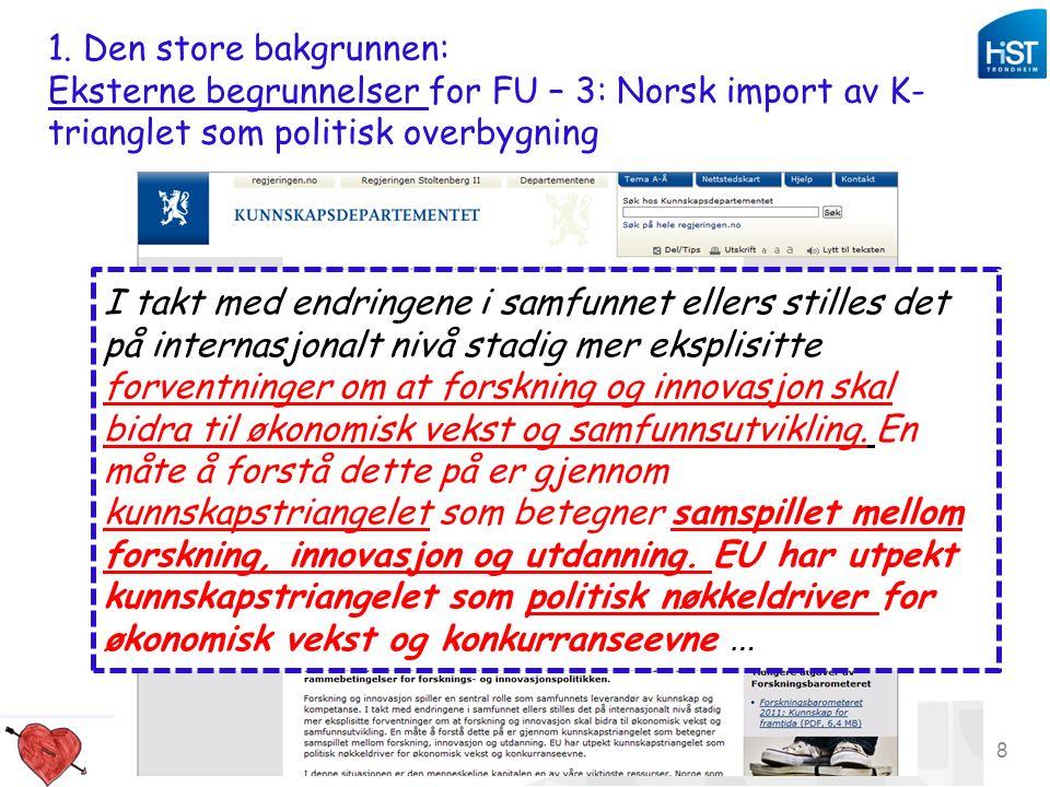 Studiekvalitetsdag 180912_aomdal 8 1. Den store bakgrunnen: Eksterne begrunnelser for FU – 3: Norsk import av K- trianglet som politisk overbygning I