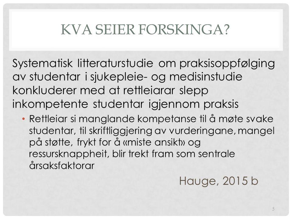 KVA SEIER FORSKINGA.