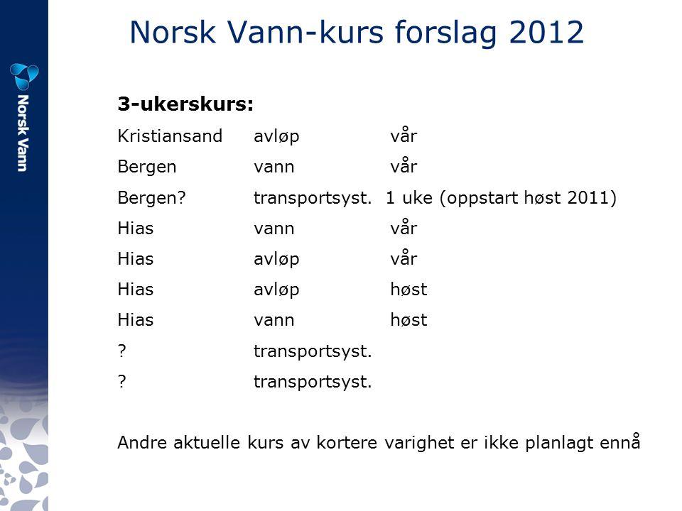 Norsk Vann-kurs forslag 2012 3-ukerskurs: Kristiansandavløpvår Bergen vannvår Bergen transportsyst.