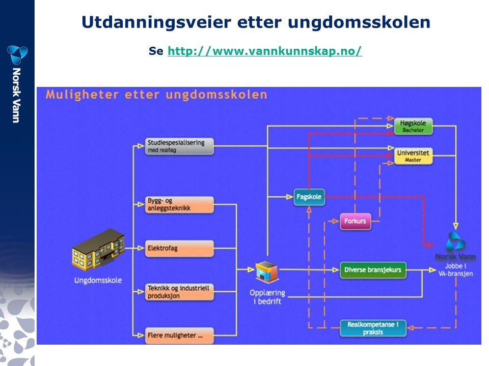 Utdanningsveier etter ungdomsskolen Se http://www.vannkunnskap.no/http://www.vannkunnskap.no/
