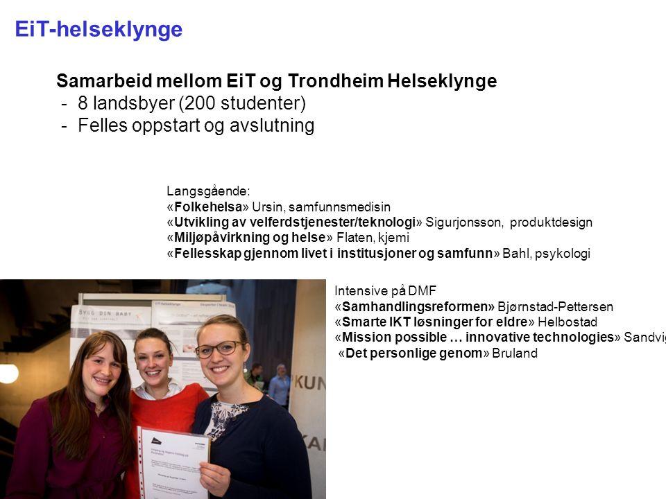 Kunnskap for en bedre verden EiT-helseklynge Samarbeid mellom EiT og Trondheim Helseklynge - 8 landsbyer (200 studenter) - Felles oppstart og avslutni