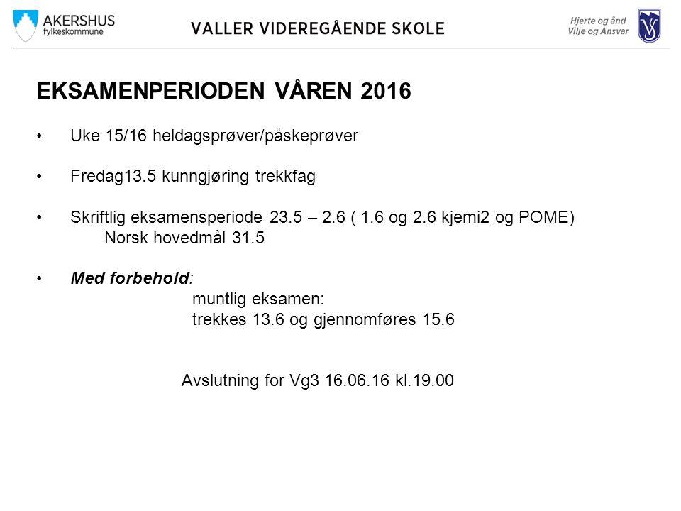 EKSAMENPERIODEN VÅREN 2016 Uke 15/16 heldagsprøver/påskeprøver Fredag13.5 kunngjøring trekkfag Skriftlig eksamensperiode 23.5 – 2.6 ( 1.6 og 2.6 kjemi2 og POME) Norsk hovedmål 31.5 Med forbehold: muntlig eksamen: trekkes 13.6 og gjennomføres 15.6 Avslutning for Vg3 16.06.16 kl.19.00