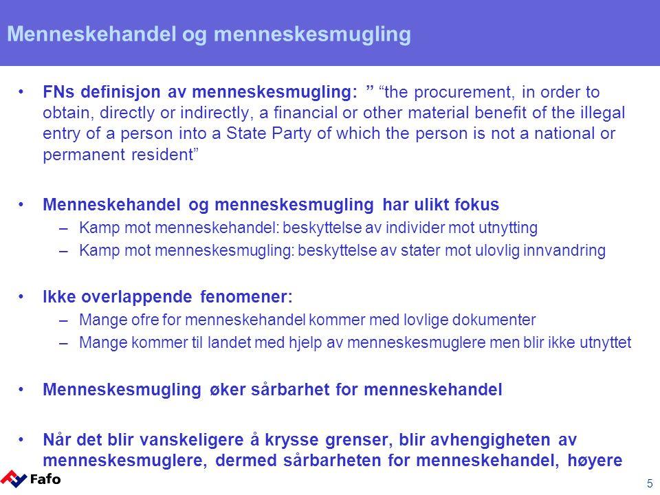"5 Menneskehandel og menneskesmugling FNs definisjon av menneskesmugling: "" ""the procurement, in order to obtain, directly or indirectly, a financial o"