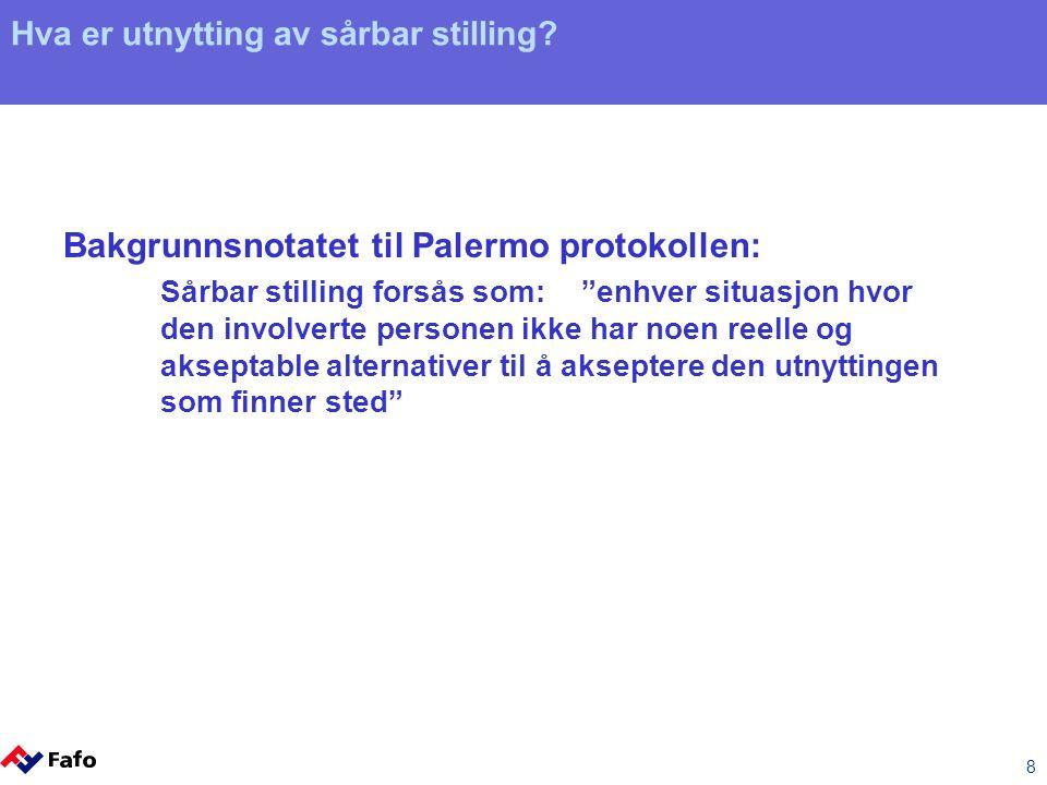 """8 Hva er utnytting av sårbar stilling? Bakgrunnsnotatet til Palermo protokollen: Sårbar stilling forsås som: """"enhver situasjon hvor den involverte per"""