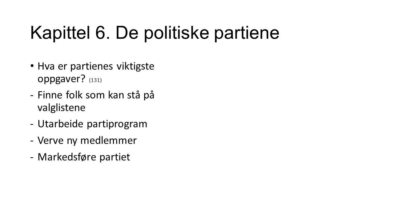 Kapittel 6. De politiske partiene Hva er partienes viktigste oppgaver.
