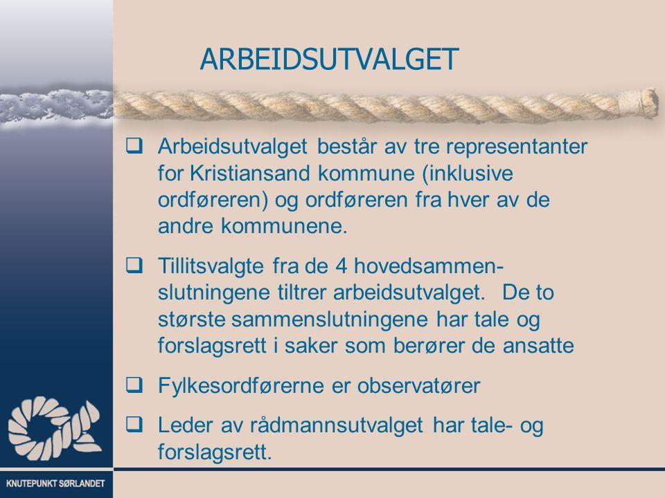  Arbeidsutvalget består av tre representanter for Kristiansand kommune (inklusive ordføreren) og ordføreren fra hver av de andre kommunene.
