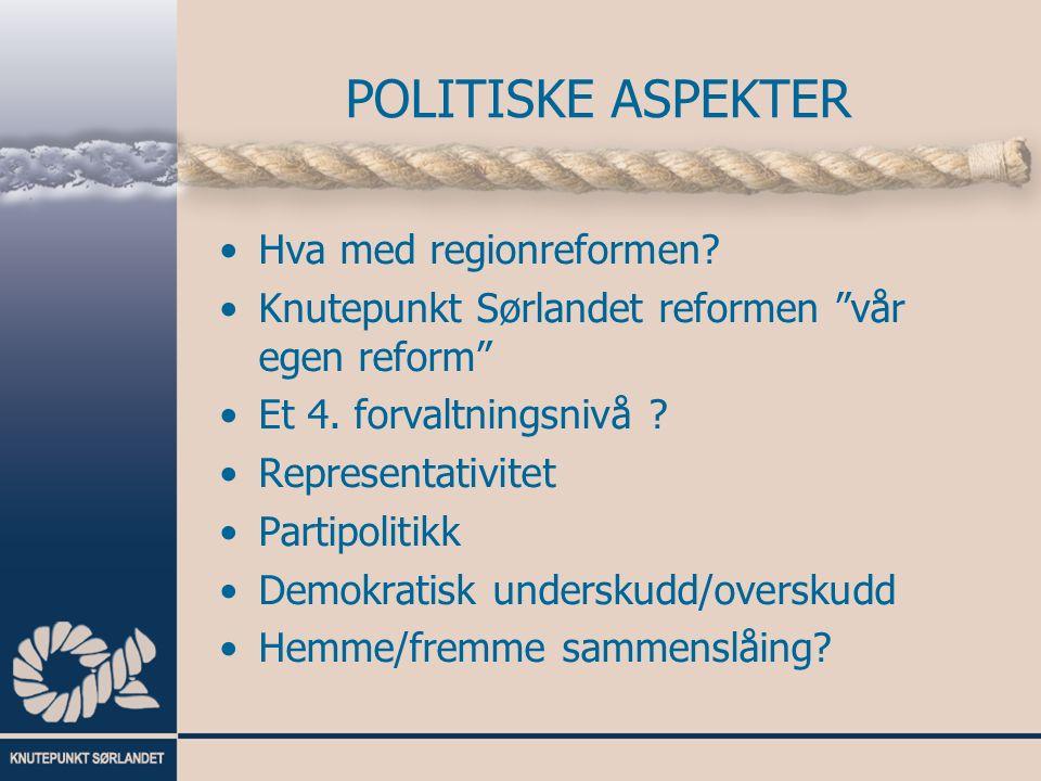 POLITISKE ASPEKTER Hva med regionreformen. Knutepunkt Sørlandet reformen vår egen reform Et 4.