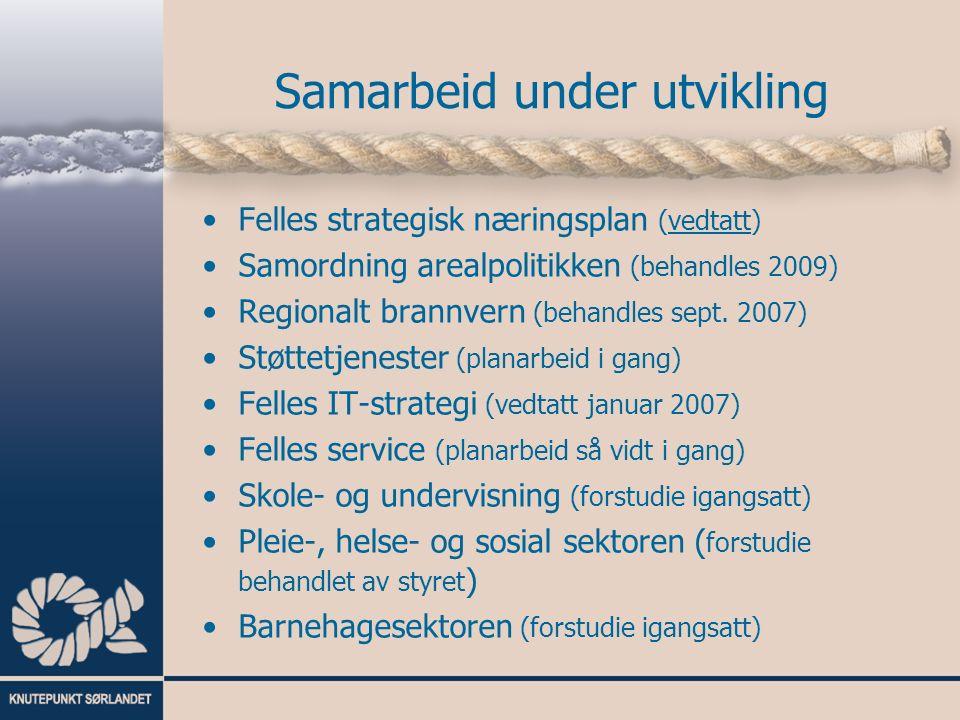 Samarbeid under utvikling Felles strategisk næringsplan (vedtatt) Samordning arealpolitikken (behandles 2009) Regionalt brannvern (behandles sept.