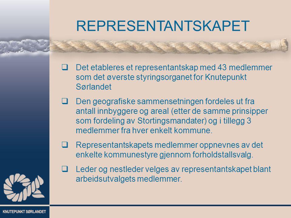  Det etableres et representantskap med 43 medlemmer som det øverste styringsorganet for Knutepunkt Sørlandet  Den geografiske sammensetningen fordeles ut fra antall innbyggere og areal (etter de samme prinsipper som fordeling av Stortingsmandater) og i tillegg 3 medlemmer fra hver enkelt kommune.