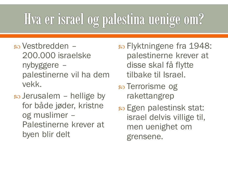 Vestbredden – 200.000 israelske nybyggere – palestinerne vil ha dem vekk.  Jerusalem – hellige by for både jøder, kristne og muslimer – Palestinern