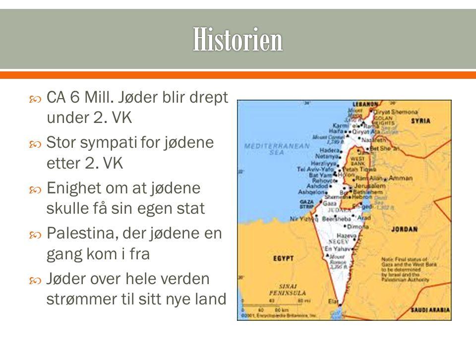  CA 6 Mill. Jøder blir drept under 2. VK  Stor sympati for jødene etter 2. VK  Enighet om at jødene skulle få sin egen stat  Palestina, der jødene