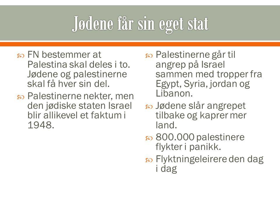  FN bestemmer at Palestina skal deles i to. Jødene og palestinerne skal få hver sin del.  Palestinerne nekter, men den jødiske staten Israel blir al
