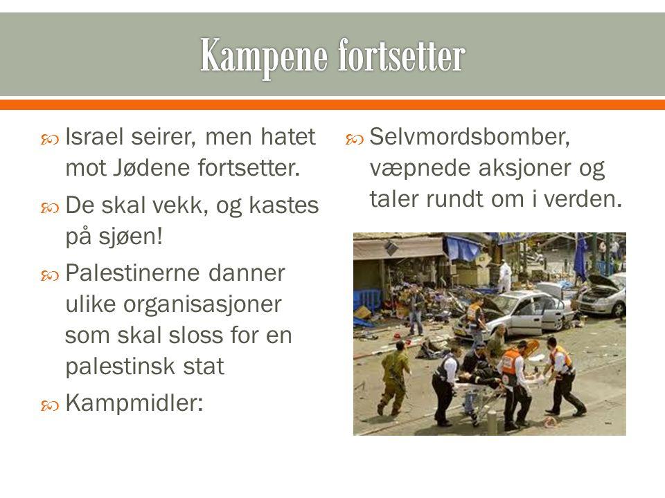  Israel seirer, men hatet mot Jødene fortsetter.  De skal vekk, og kastes på sjøen!  Palestinerne danner ulike organisasjoner som skal sloss for en