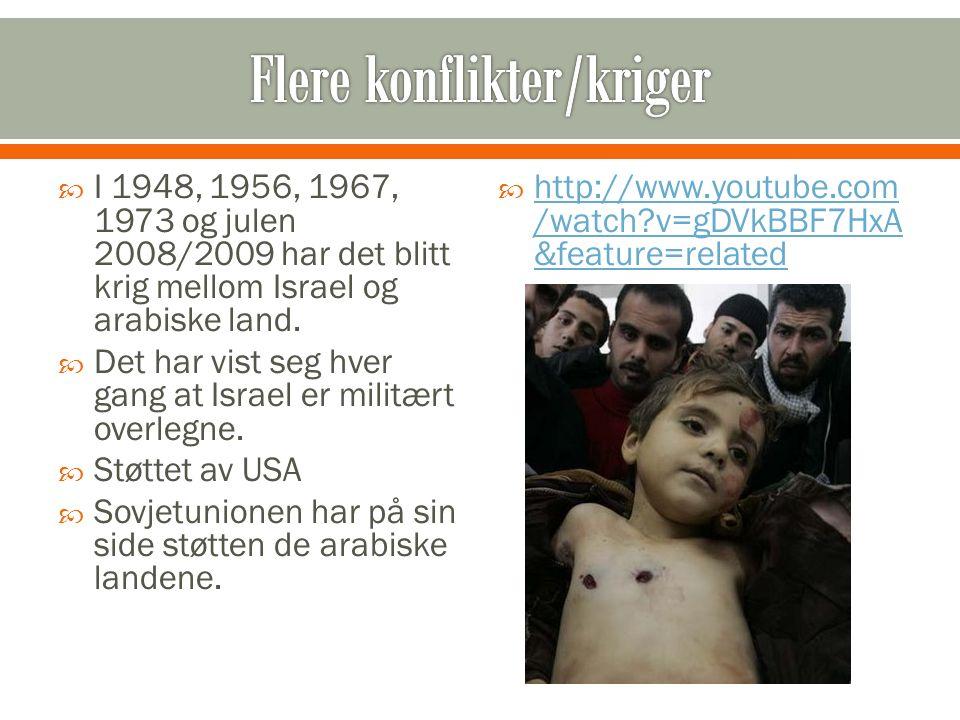  I 1948, 1956, 1967, 1973 og julen 2008/2009 har det blitt krig mellom Israel og arabiske land.  Det har vist seg hver gang at Israel er militært ov