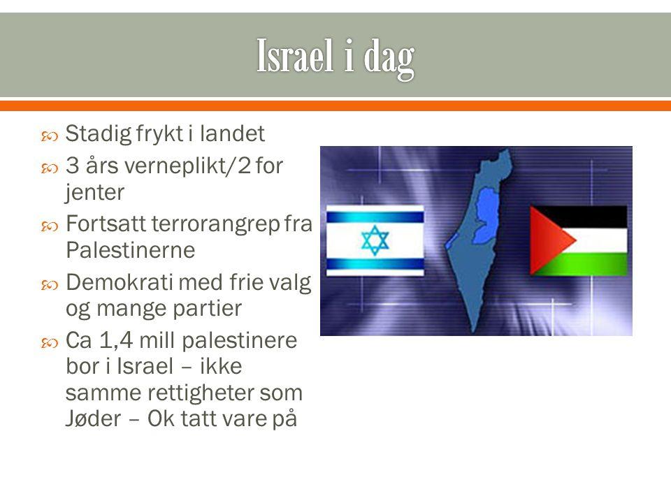  Stadig frykt i landet  3 års verneplikt/2 for jenter  Fortsatt terrorangrep fra Palestinerne  Demokrati med frie valg og mange partier  Ca 1,4 m