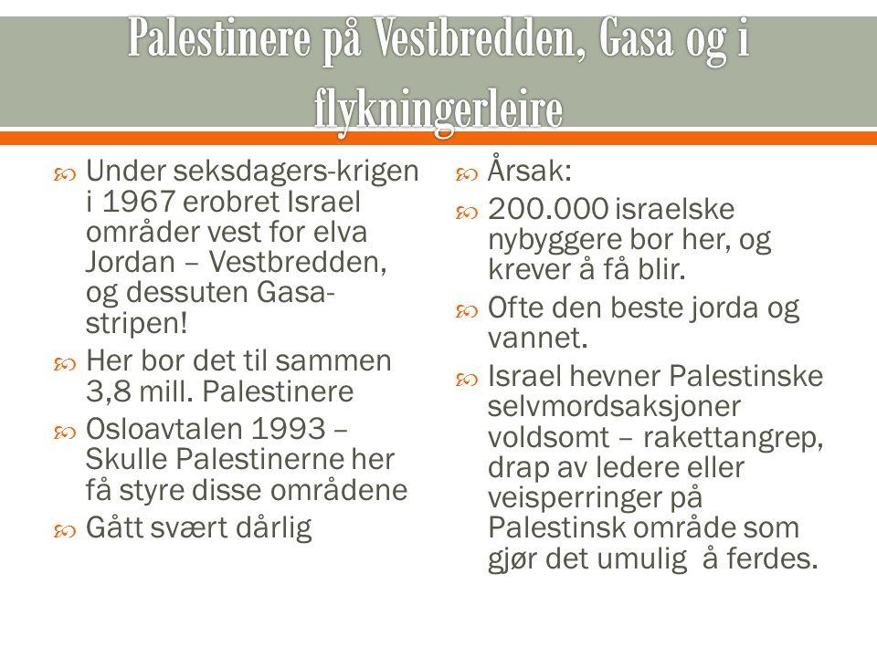  Under seksdagers-krigen i 1967 erobret Israel områder vest for elva Jordan – Vestbredden, og dessuten Gasa- stripen!  Her bor det til sammen 3,8 mi