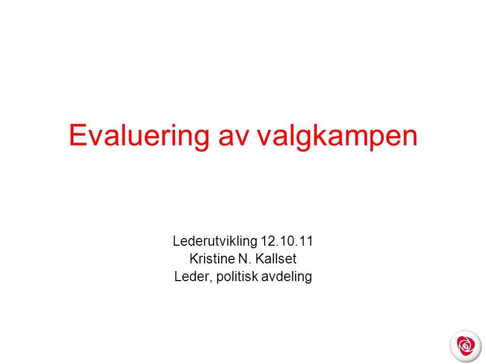 Evaluering av valgkampen Lederutvikling 12.10.11 Kristine N. Kallset Leder, politisk avdeling