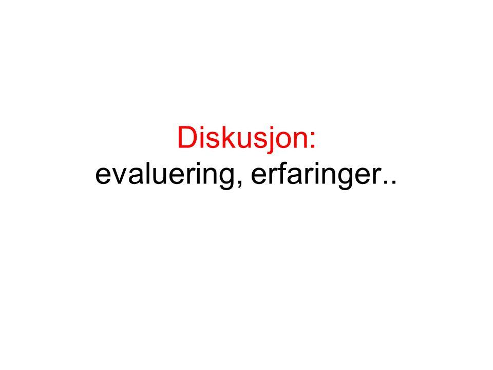 Diskusjon: evaluering, erfaringer..