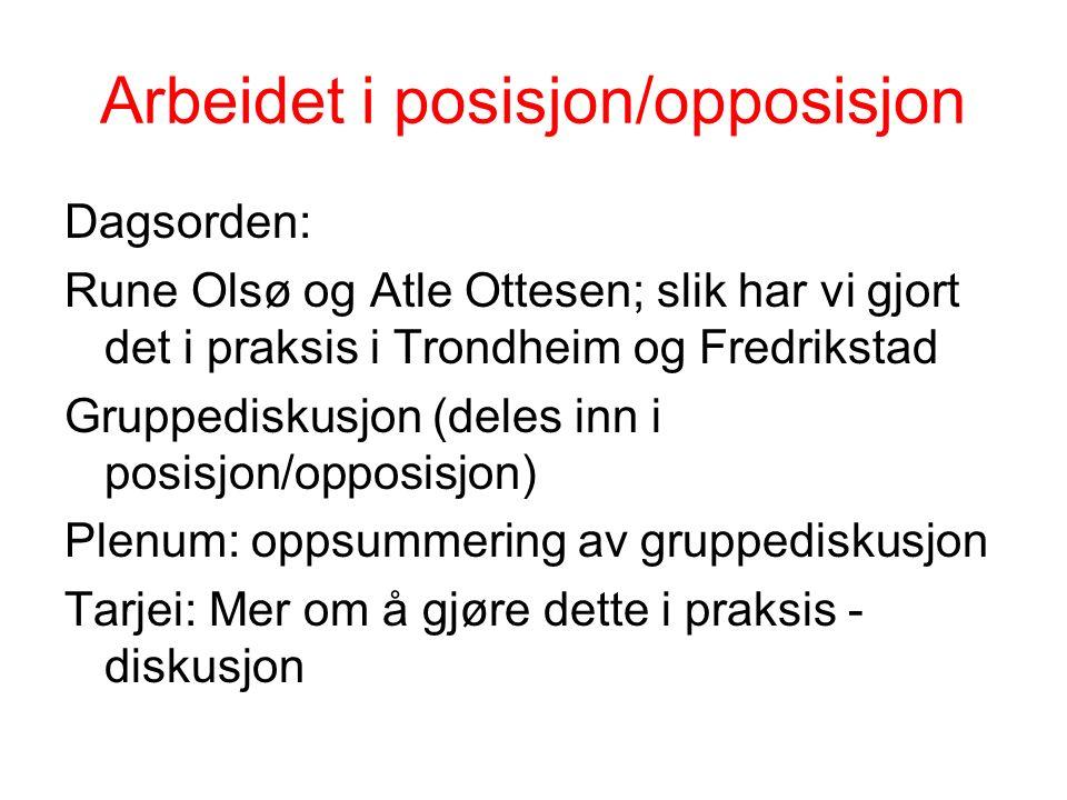 Arbeidet i posisjon/opposisjon Dagsorden: Rune Olsø og Atle Ottesen; slik har vi gjort det i praksis i Trondheim og Fredrikstad Gruppediskusjon (deles inn i posisjon/opposisjon) Plenum: oppsummering av gruppediskusjon Tarjei: Mer om å gjøre dette i praksis - diskusjon