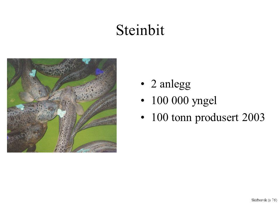 Steinbit 2 anlegg 100 000 yngel 100 tonn produsert 2003 Skiftesvik (s 76)