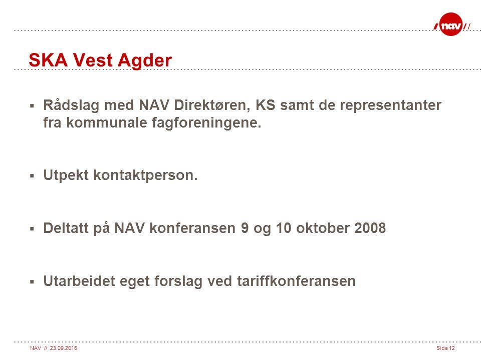 NAV // 23.09.2016Side 12 SKA Vest Agder  Rådslag med NAV Direktøren, KS samt de representanter fra kommunale fagforeningene.