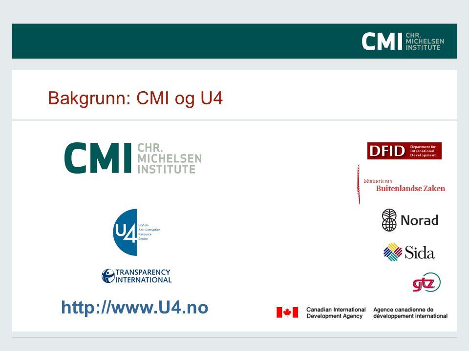 Bakgrunn: CMI og U4 http://www.U4.no