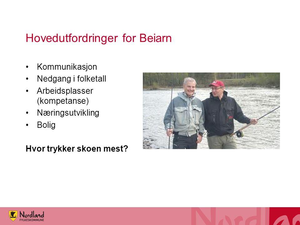 Hovedutfordringer for Beiarn Kommunikasjon Nedgang i folketall Arbeidsplasser (kompetanse) Næringsutvikling Bolig Hvor trykker skoen mest?