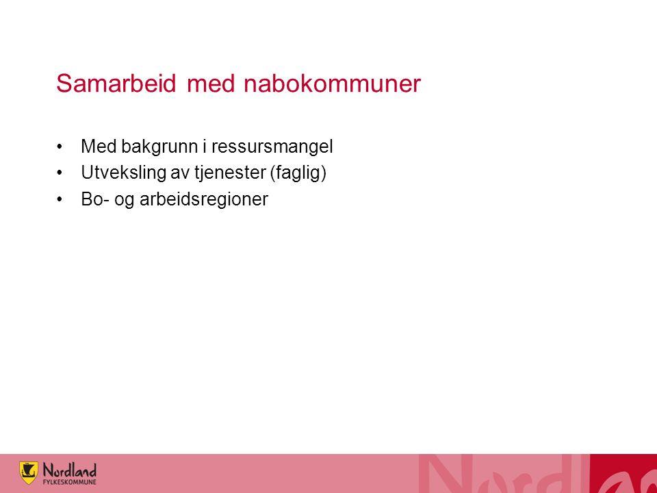 Samarbeid med nabokommuner Med bakgrunn i ressursmangel Utveksling av tjenester (faglig) Bo- og arbeidsregioner