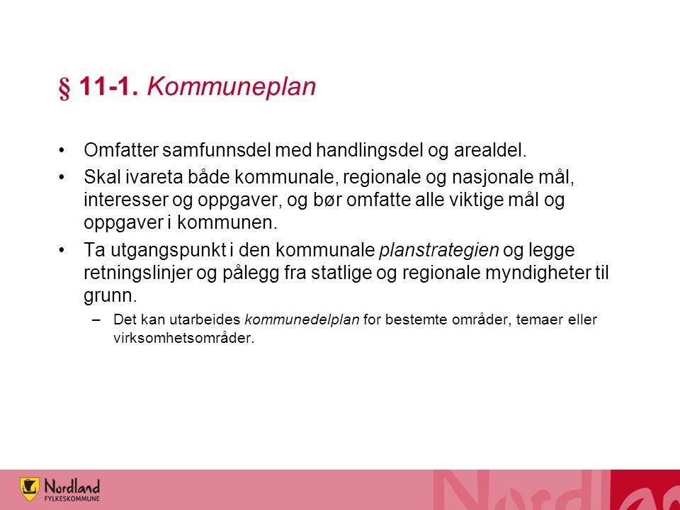 § 11-1. Kommuneplan Omfatter samfunnsdel med handlingsdel og arealdel. Skal ivareta både kommunale, regionale og nasjonale mål, interesser og oppgaver