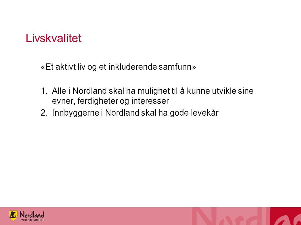 Livskvalitet «Et aktivt liv og et inkluderende samfunn» 1.Alle i Nordland skal ha mulighet til å kunne utvikle sine evner, ferdigheter og interesser 2