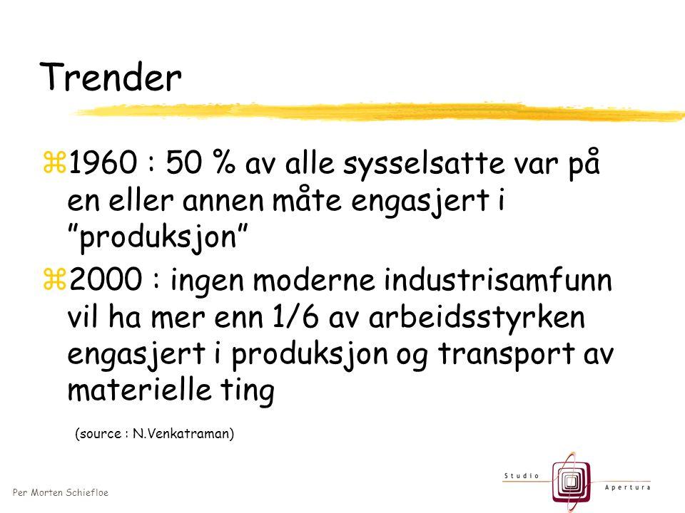 Per Morten Schiefloe Trender z1960 : 50 % av alle sysselsatte var på en eller annen måte engasjert i produksjon z2000 : ingen moderne industrisamfunn vil ha mer enn 1/6 av arbeidsstyrken engasjert i produksjon og transport av materielle ting (source : N.Venkatraman)