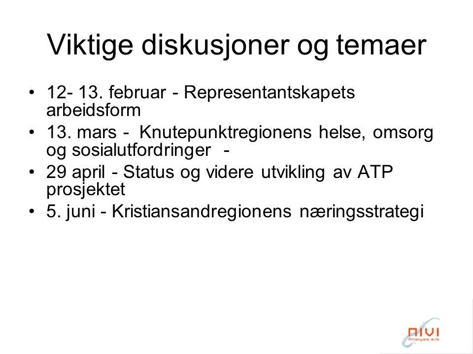 Viktige diskusjoner og temaer 12- 13. februar - Representantskapets arbeidsform 13.