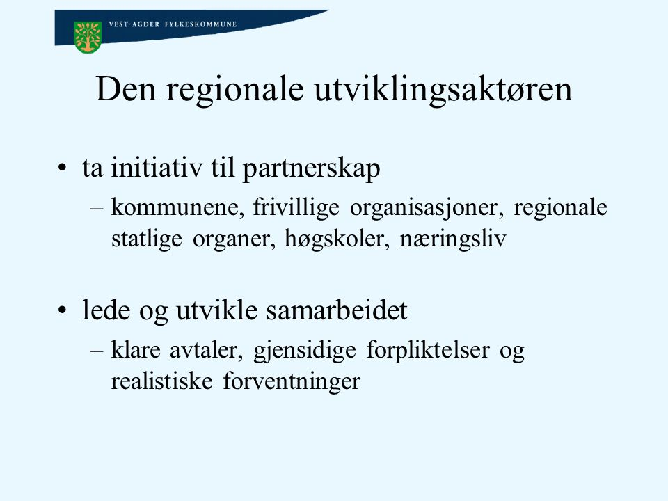 Den regionale utviklingsaktøren ta initiativ til partnerskap –kommunene, frivillige organisasjoner, regionale statlige organer, høgskoler, næringsliv lede og utvikle samarbeidet –klare avtaler, gjensidige forpliktelser og realistiske forventninger