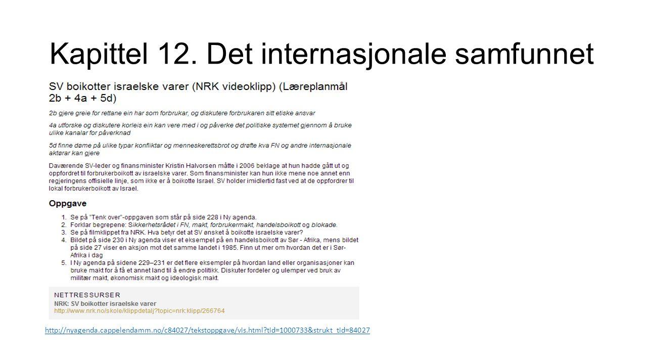 Kapittel 12. Det internasjonale samfunnet http://nyagenda.cappelendamm.no/c84027/tekstoppgave/vis.html?tid=1000733&strukt_tid=84027