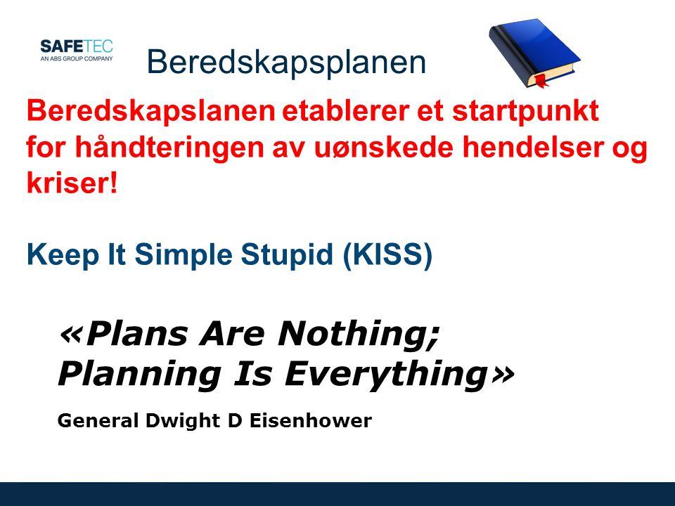 «Plans Are Nothing; Planning Is Everything» General Dwight D Eisenhower Beredskapsplanen Beredskapslanen etablerer et startpunkt for håndteringen av uønskede hendelser og kriser.