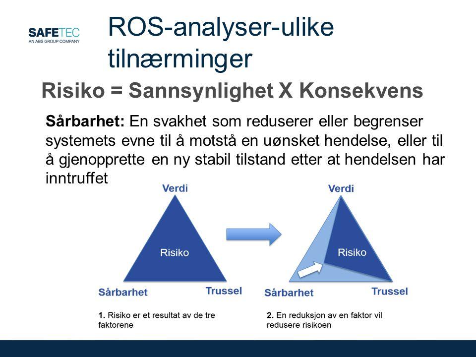 Risiko = Sannsynlighet X Konsekvens ROS-analyser-ulike tilnærminger Sårbarhet: En svakhet som reduserer eller begrenser systemets evne til å motstå en uønsket hendelse, eller til å gjenopprette en ny stabil tilstand etter at hendelsen har inntruffet