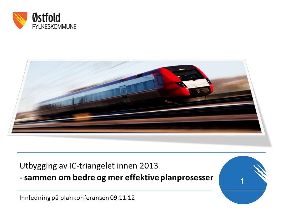 1 Innledning på plankonferansen 09.11.12 Utbygging av IC-triangelet innen 2013 - sammen om bedre og mer effektive planprosesser