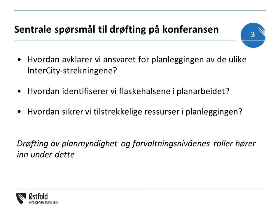 Sentrale spørsmål til drøfting på konferansen Hvordan avklarer vi ansvaret for planleggingen av de ulike InterCity-strekningene.